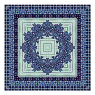 Blue Faux Knit Mandala Poster