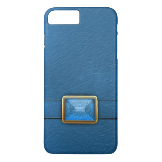 Blue Faux Leather And Gemstone Phone Case