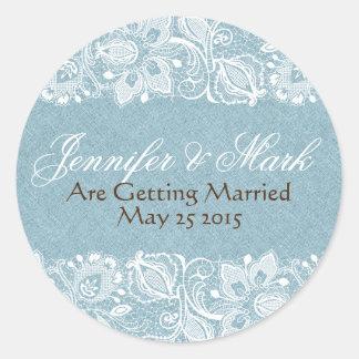 Blue Faux Linen Burlap & White Floral Lace Classic Round Sticker