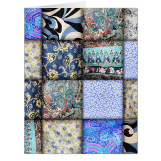 Blue Faux Patchwork Quilting Pattern Card