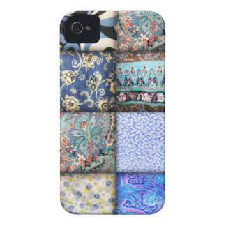 Blue Faux Patchwork Quilting Pattern iPhone 4 Case-Mate Cases