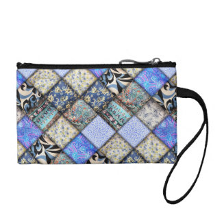 Blue Faux Patchwork Quilting Pattern Coin Wallet