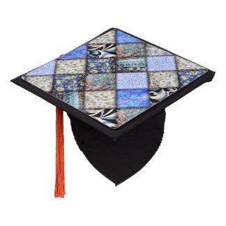 Blue Faux Patchwork Quilting Pattern Graduation Cap Topper
