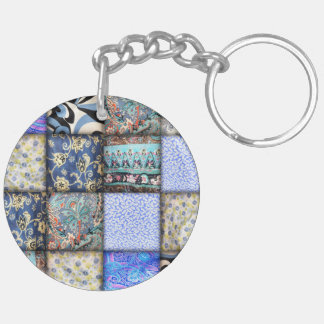 Blue Faux Patchwork Quilting Pattern Keychain