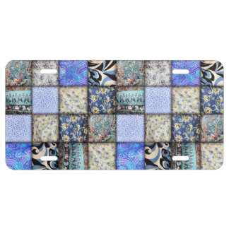 Blue Faux Patchwork Quilting Pattern License Plate