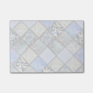 Blue Faux Patchwork Quilting Pattern Post-it Notes