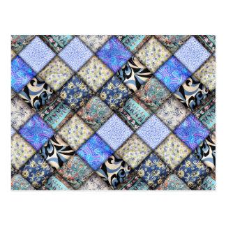 Blue Faux Patchwork Quilting Pattern Postcard