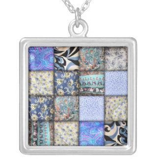 Blue Faux Patchwork Quilting Pattern Square Pendant Necklace