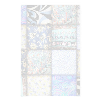Blue Faux Patchwork Quilting Pattern Stationery