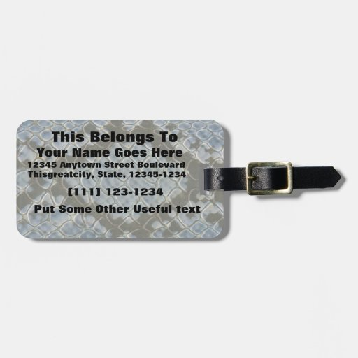 blue faux snakeskin pattern horizontal tag for bags
