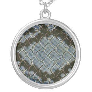 blue faux snakeskin pattern horizontal silver plated necklace