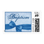 Blue Faux Textured Bow Baby Baptism Stamp