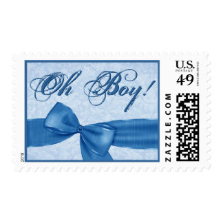 Blue Faux Textured Bow BABY BOY Announcement Postage