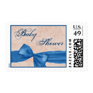 Blue Faux Textured Bow Boy Baby Shower V03 Postage