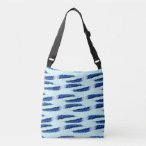 Blue Feather All-Over-Print Cross Body Bag