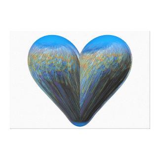 blue feather heart canvas print