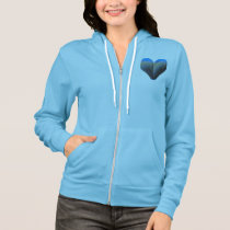 blue feather heart hoodie