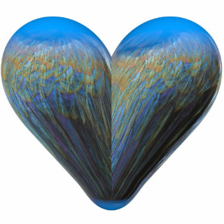 blue feather heart statuette
