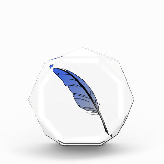Blue Feather Quill Acrylic Award