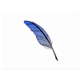 Blue Feather Quill Postcard
