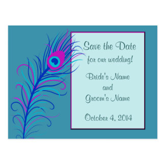 Blue Feather Save the Date Postcard