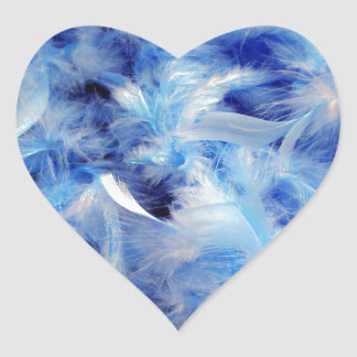 Blue Feathers Heart Stickers