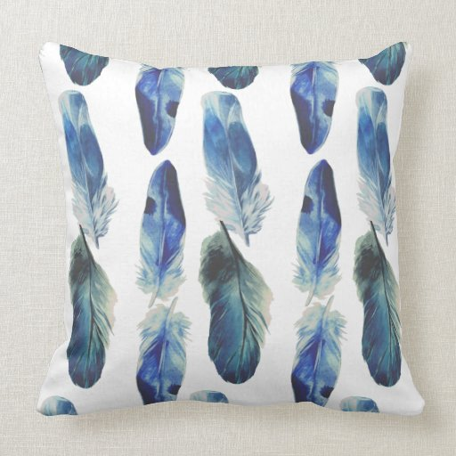 Blue Feathers Polyester Throw Pillow 20x20