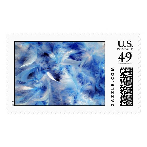 Blue Feathers Postage Stamp