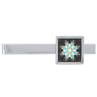 blue feathers star-burst silver finish tie clip