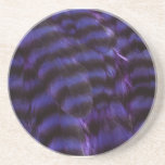 Blue Feathers With Black Coaster