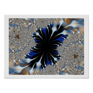 Blue Features Fractal Poster