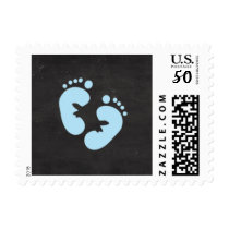 Blue feet baby boy chalkboard baby shower stamp