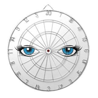 Blue Female Eyes Cartoon Graphic Dart Boards