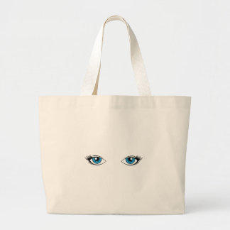Blue Female Eyes Cartoon Graphic Large Tote Bag