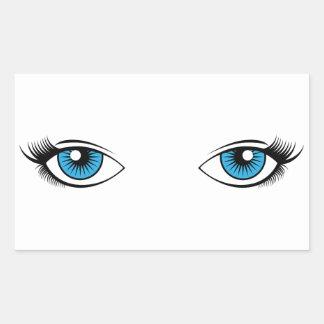 Blue Female Eyes Cartoon Graphic Rectangular Sticker