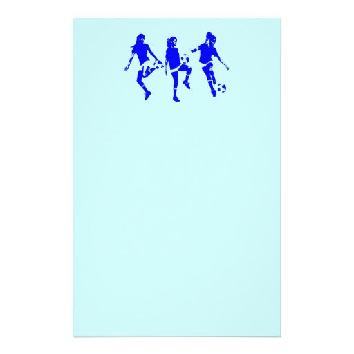 Blue Female Soccer Skills Customized Stationery