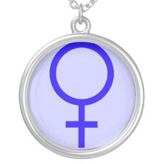 Blue Female Symbol Round Pendant Necklace