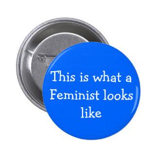 Blue Feminism pin