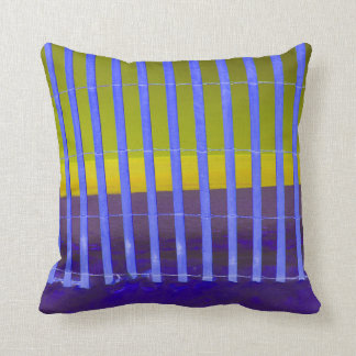 blue fence yellow sea beach image pillow