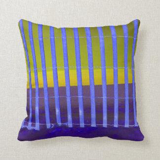 blue fence yellow sea beach image throw pillows