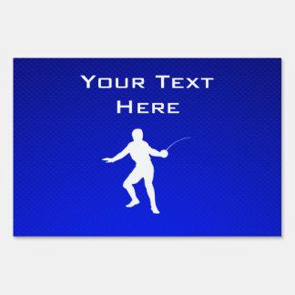 Blue Fencing Sign