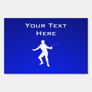 Blue Fencing Lawn Sign