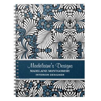 Blue Fern Pattern for Professional Business Notebook