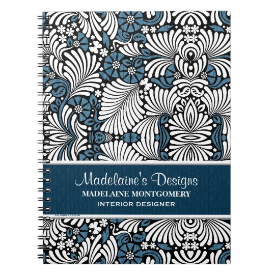 Blue Fern Pattern for Professional Business Spiral Notebook