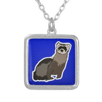 Blue Ferret Square Pendant Necklace