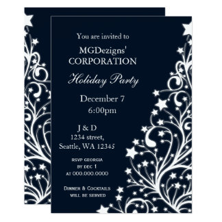 blue festive Corporate holiday party Invites