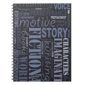 Blue Fiction Writer's Word Art Notebook
