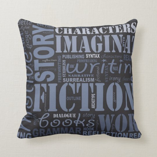 Blue Fiction Writer's Word Art Throw Pillow