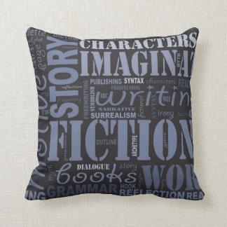 Blue Fiction Writer's Word Art Throw Pillow