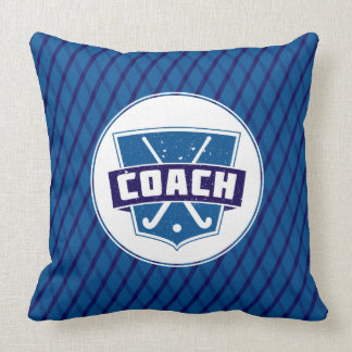 Blue Field Hockey Coach Throw Pillow